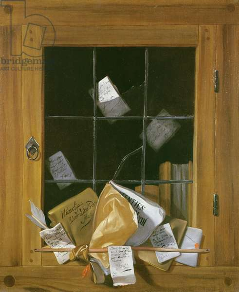 Trompe l'oeil of a cabinet door (oil on canvas)