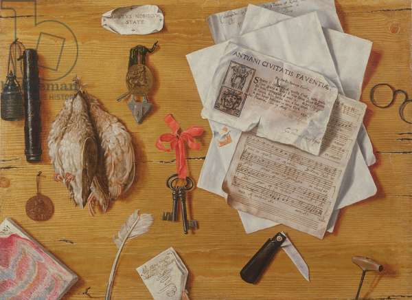 A Trompe l'Oeil with Birds, Keys, Spectacles and Sheet Music (oil on canvas)