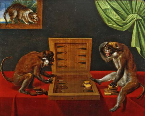 Two Monkeys Playing Tric Trac on a Table (oil on panel)