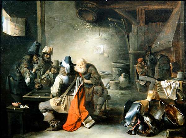 A Group of Figures playing Backgammon (oil on panel)