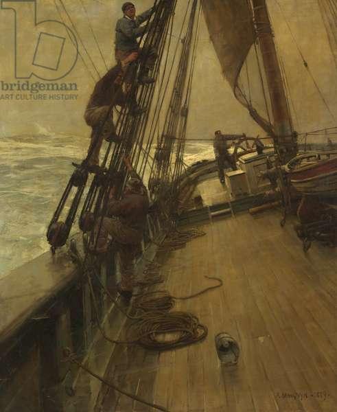 All Hands Shorten Sail, 1889 (oil on canvas)
