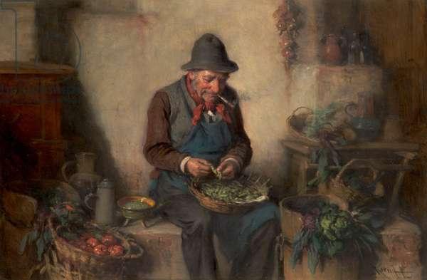 Old Man Shelling Peas, c.1880 (oil on panel)