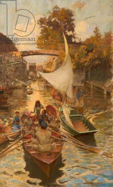 A Study of Boulter's Lock, Maidenhead, Berkshire (oil on canvas)