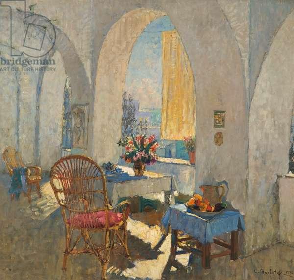 A Sunny Terrace, 1930 (oil on canvas)
