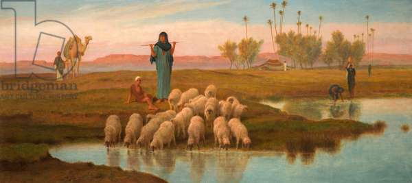 Shepherdess and Her Flock at a Pool Left by the Subsiding of the Overflow of the Nile (oil on canvas)