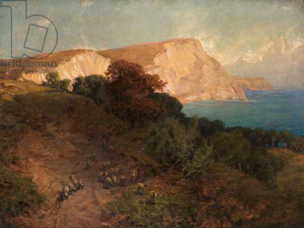 From English Seas - White Nose Cliff, the Highest in Dorset, c.1910 (oil on canvas)