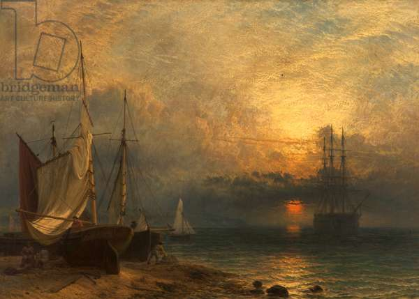 Waiting for the Tide, Sunset, 1866 (oil on canvas)