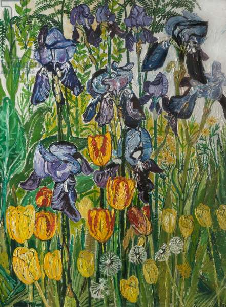 Irises and Tulips, c.1967 (oil on canvas)