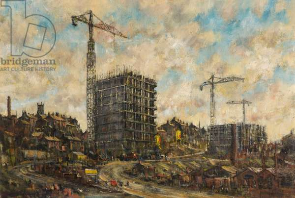 The Construction of College Bank Flats, Rochdale, Lancashire, 1966 (oil on board)