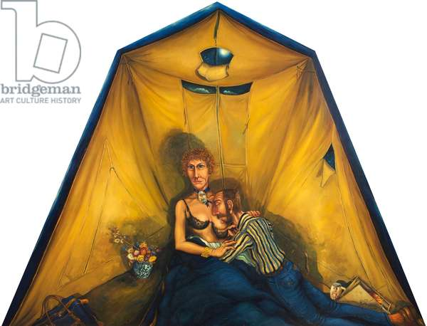 Our Tent, the Fourteenth Wedding Anniversary, 1975 (oil on board)