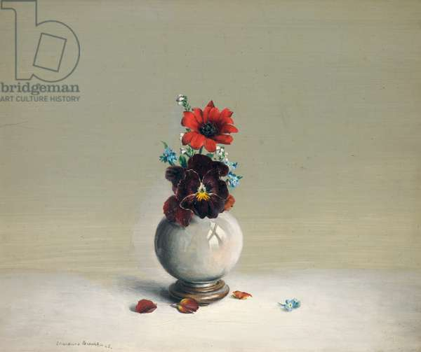 Chinese Bowl and Pansy, 1925 (oil on panel)