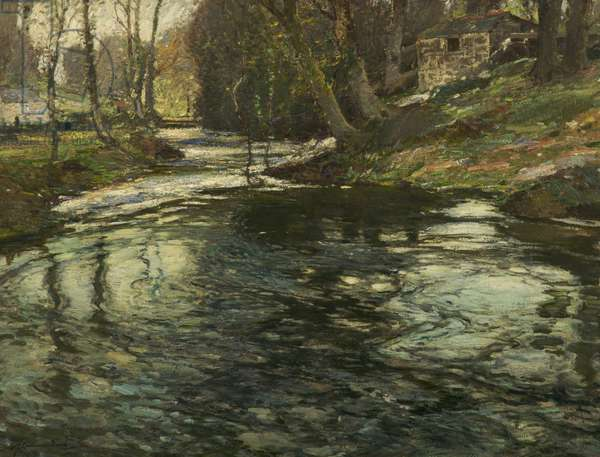 The Stream at Lamorna, Penzance, Cornwall, c.1914 (oil on canvas)