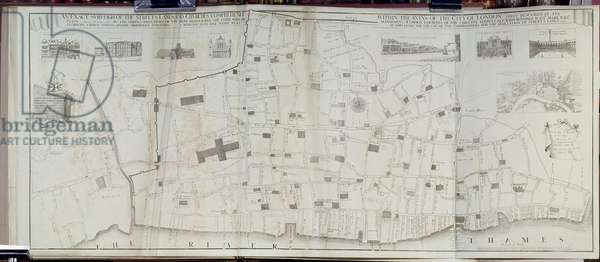 Map of Streets, Lanes and Churches within the Ruins after the Great Fire of London, 1666