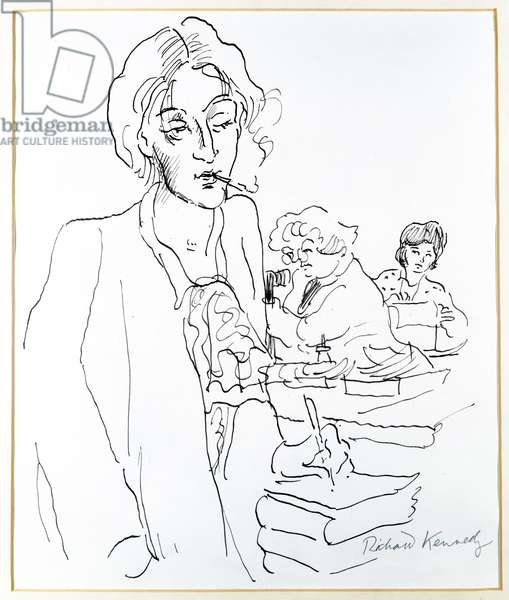Virginia Woolf (1882-1941) at the Hogarth Press (pen and ink)