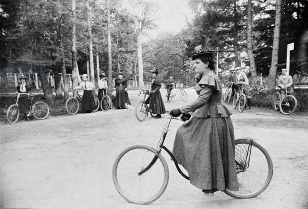 Hannah Maynard and others cycling in Beacon Hill Park, Victoria, c.1895 (b/w photo)