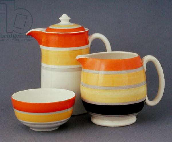Coffee pot, bowl and jug, c.1930s (earthenware)