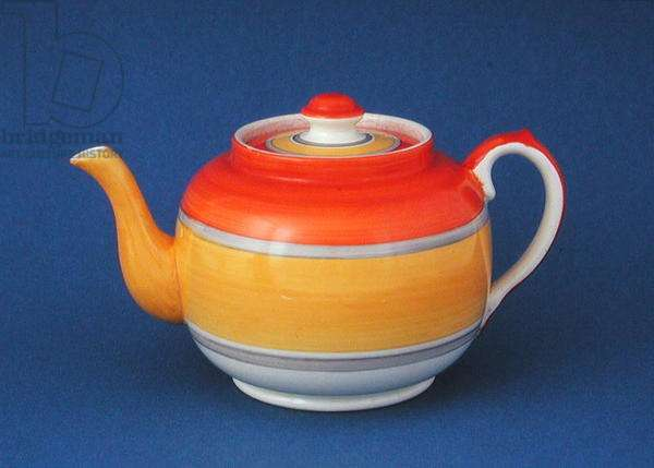 Teapot with banded decoration, 1930s (earthenware)