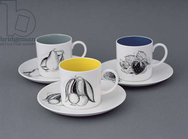 Cups and saucers in 'Black Fruit' design, c.1958 (bone china)