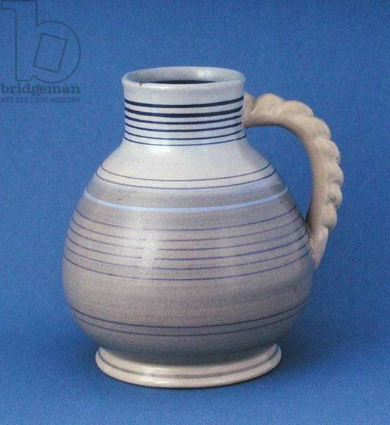 Jug with rope design handle, 1930s (earthenware)