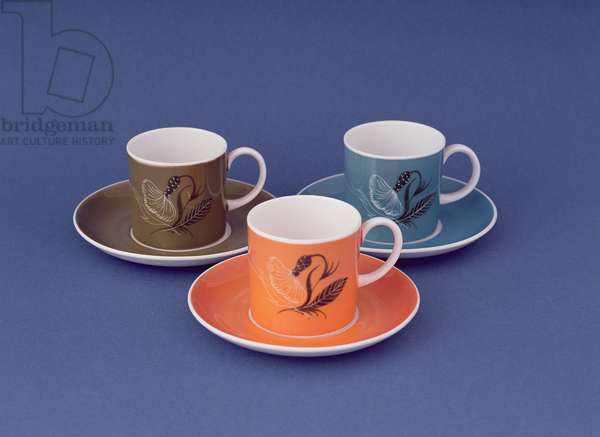 Three cups and saucers with flower decoration, mid-1960s (bone china)