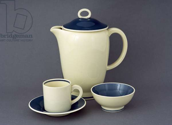'Falcon' coffee pot, cup and saucer and sugar bowl, Chinese blue design, produced for John Lewis, 1938-42