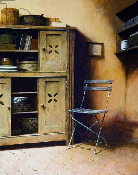 Painted Cupboard and Chair, 2006 (acrylic on board)