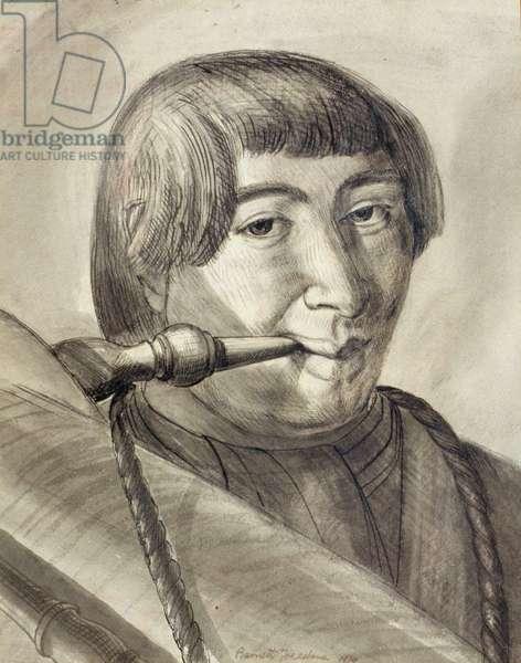 Sicilian Bagpipe Player, 1929 (pen & ink wash)