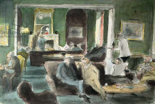 Senior Common Room at the Royal College of Art, Cromwell Road, 1951 (pen & w/c on paper)