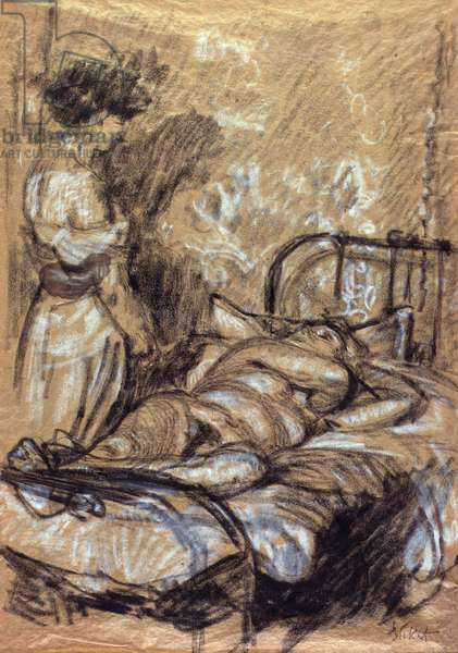 Conversation, c.1908-09 (charcoal, white chalk & ink on paper)