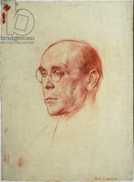 Portrait of Sir William Rothenstein (red & white chalk on paper)