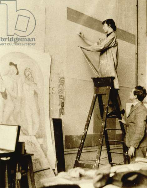 Mural being installed, c.1950 (b/w photo)