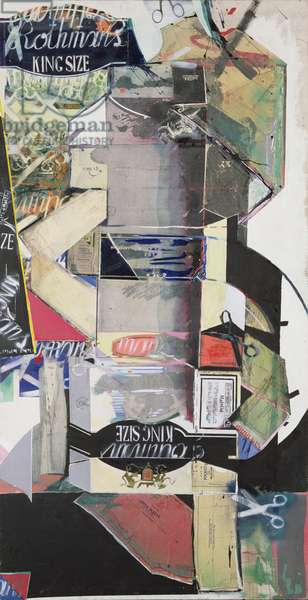 Flat Packed Rothman's, 1976 (acrylic & mixed media on canvas)