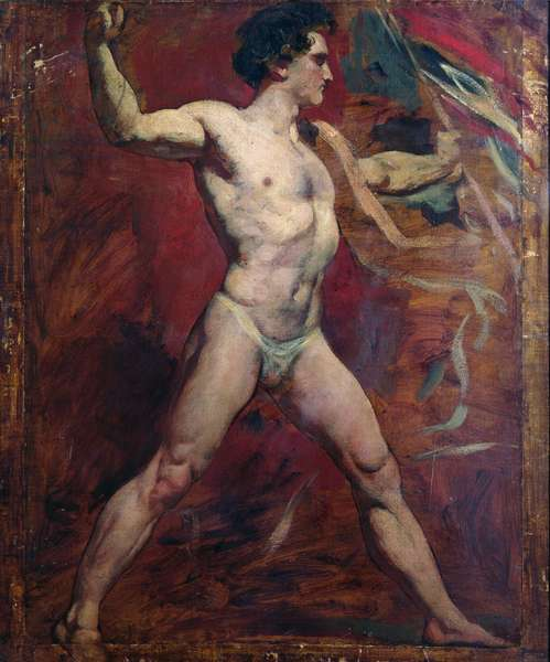 Standing Male Nude (oil on canvas)