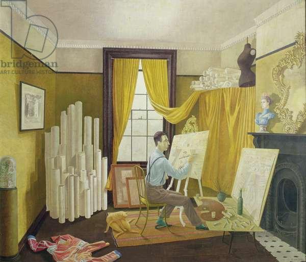 Edward Bawden Working in his Studio, 1930 (tempera on board)