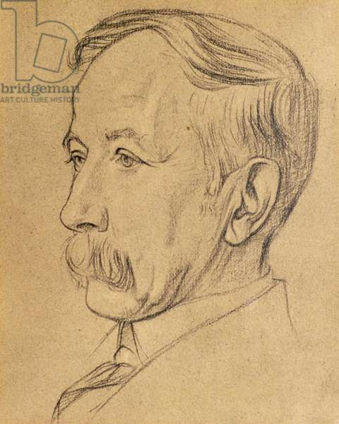 Portrait of William Lethaby (black chalk on paper)