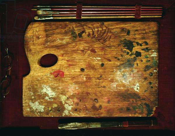 Palette and Brushes belonging to William Holman Hunt (photo)