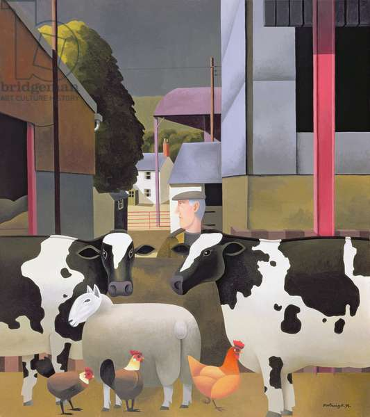 Farmer with Cows, 1992 (oil on canvas)