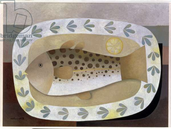 Fish on the Plate, 1996 (oil on board)