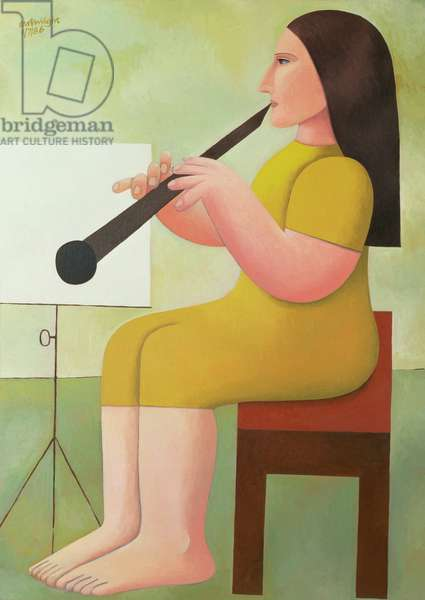 Girl with Clarinet, 1986 (oil on canvas)