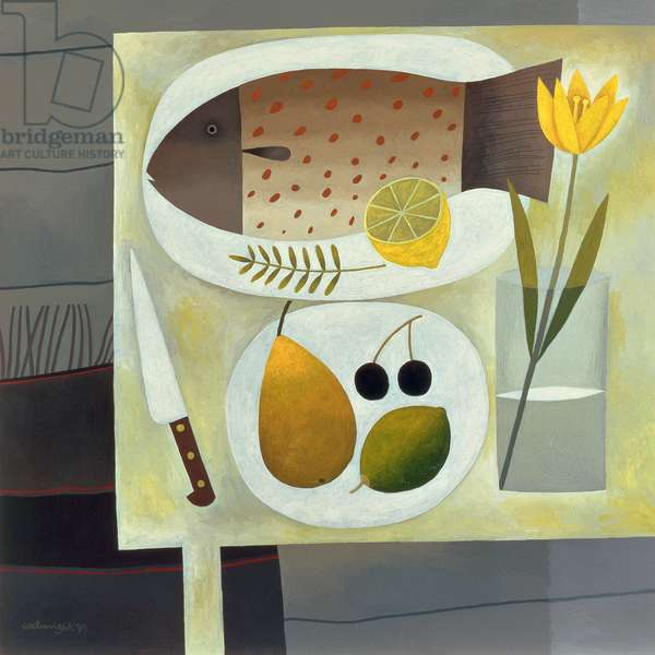 Grey Still Life with Fish, 1999 (oil on board)