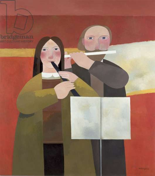 The Musicians, 1988 (oil on board)