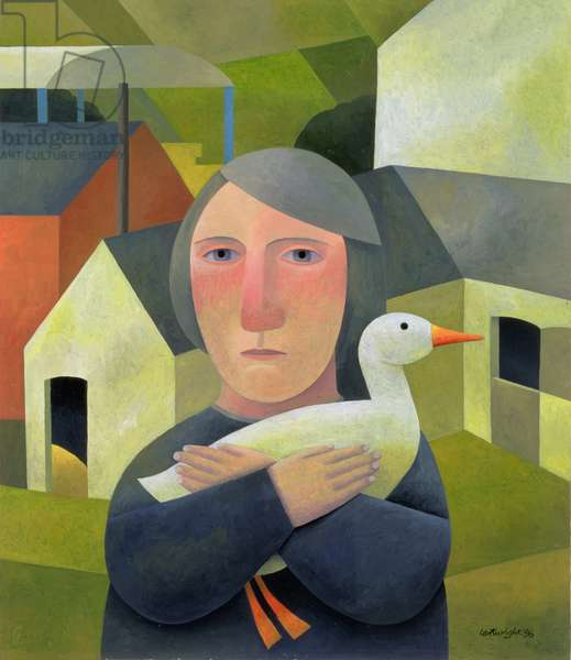 Woman with Duck, 1996 (oil on board)