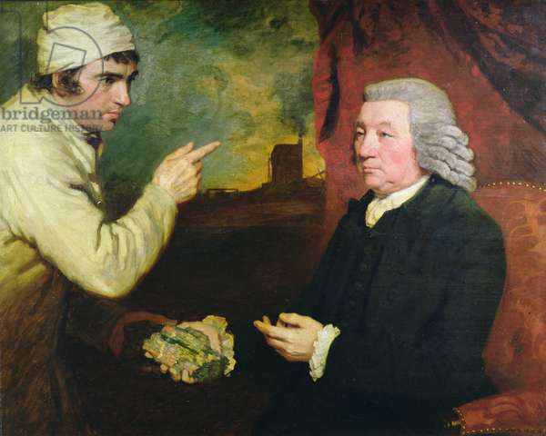 A gentleman and a miner with a specimen of copper ore