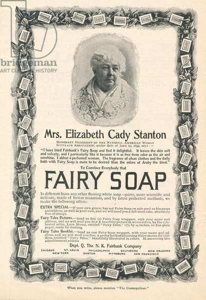 Ad for Fairy Soap featuring women's suffrage leader Mrs. Elizabeth Cady Stanton, 1899 (print)