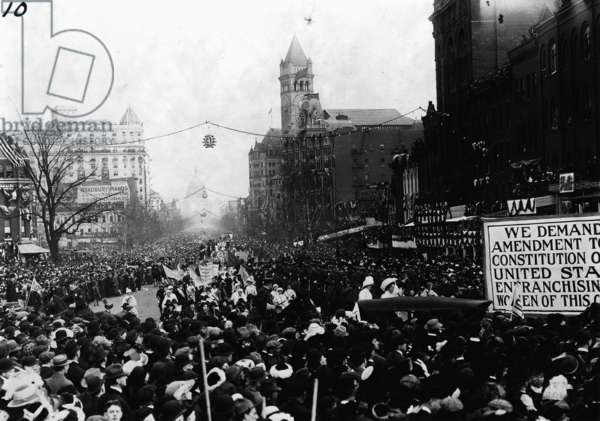 Mounted troops clear Pennsylvania Avenue so the women's suffrage parade can continue, Washington D.C., March 3, 1913 (b/w photo)