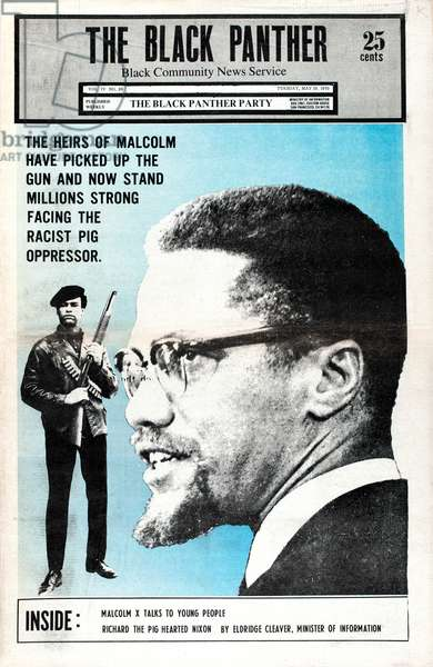 The Black Panther, The Black Panther Party's newspaper front page featuring Malcolm X, May 19, 1970 (colour newspaper)