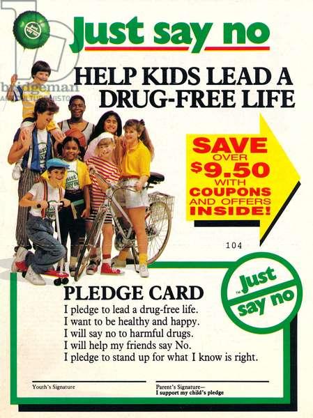 Just say no, anti-drug Pledge Card, c. 1987 (litho)