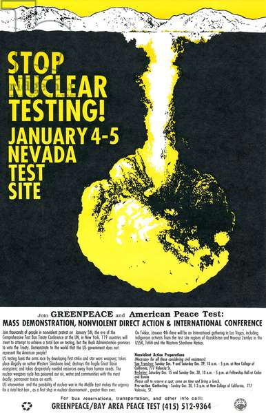 Stop Nuclear Testing! January 4-5, Nevada Test Site leaflet, 1991 (litho)