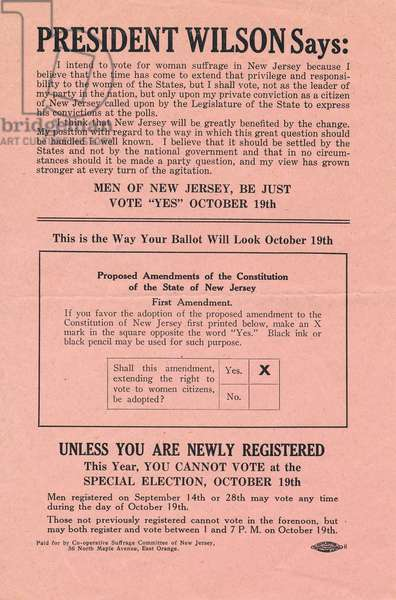 President Wilson Says, leaflet supporting women's suffrage in New Jersey, 1915 (print)