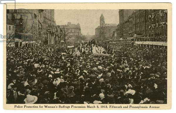 Police Protection for Woman's Suffrage Procession, March 3, 1913, Fifteenth and Pennsylvania Avenue, post card  (litho post card)